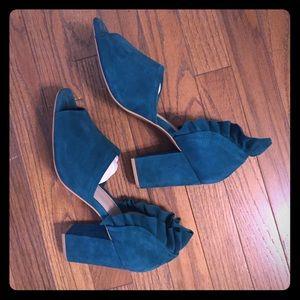Peep toe ruffle heels